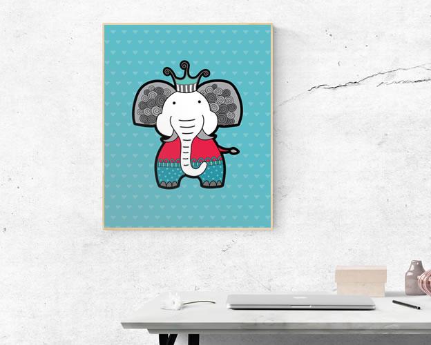 Tazi A3-Elephant-Frame-Wall