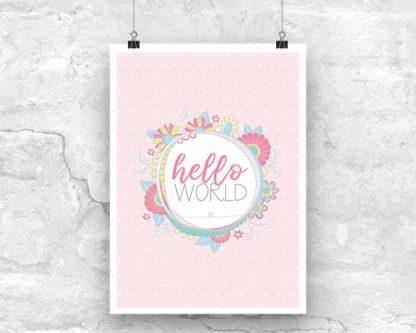 Tazi Hello-World-Pink-Poster