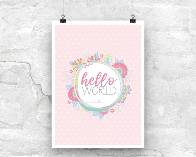 Tazi Hello-World-Pink-Poster
