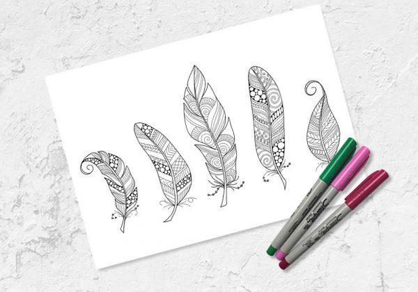 Feathers colouring printables by Tazi