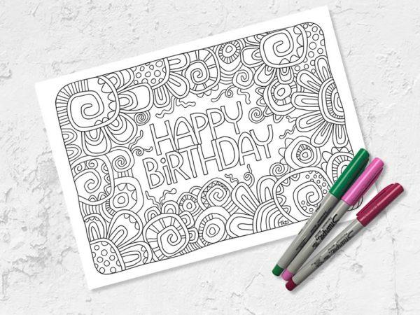 Happy birthday colouring printable by Tazi