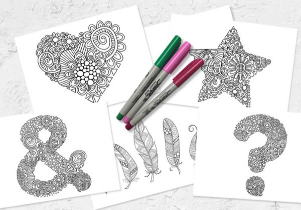 Set of colouring printables by Tazi