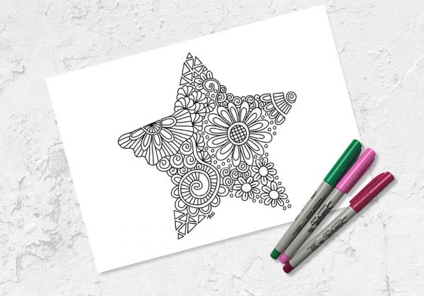 Star colouring printables by Tazi