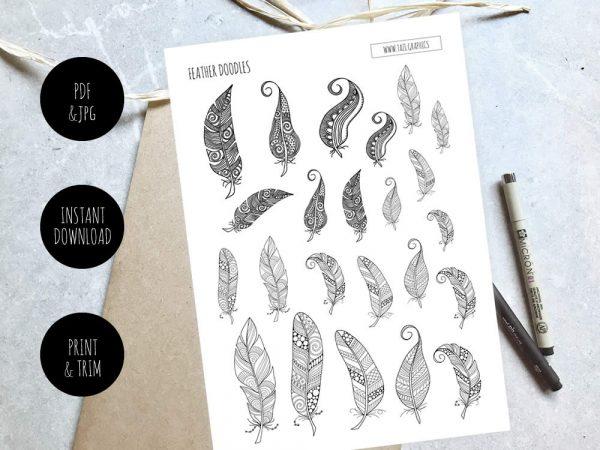 Tazi Feathers-Doodles