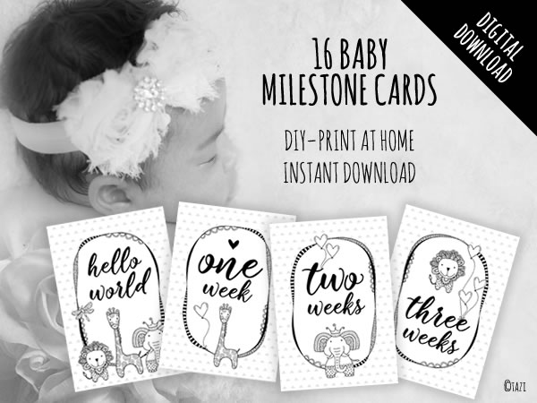 Baby Milestone Cards B&W Animals
