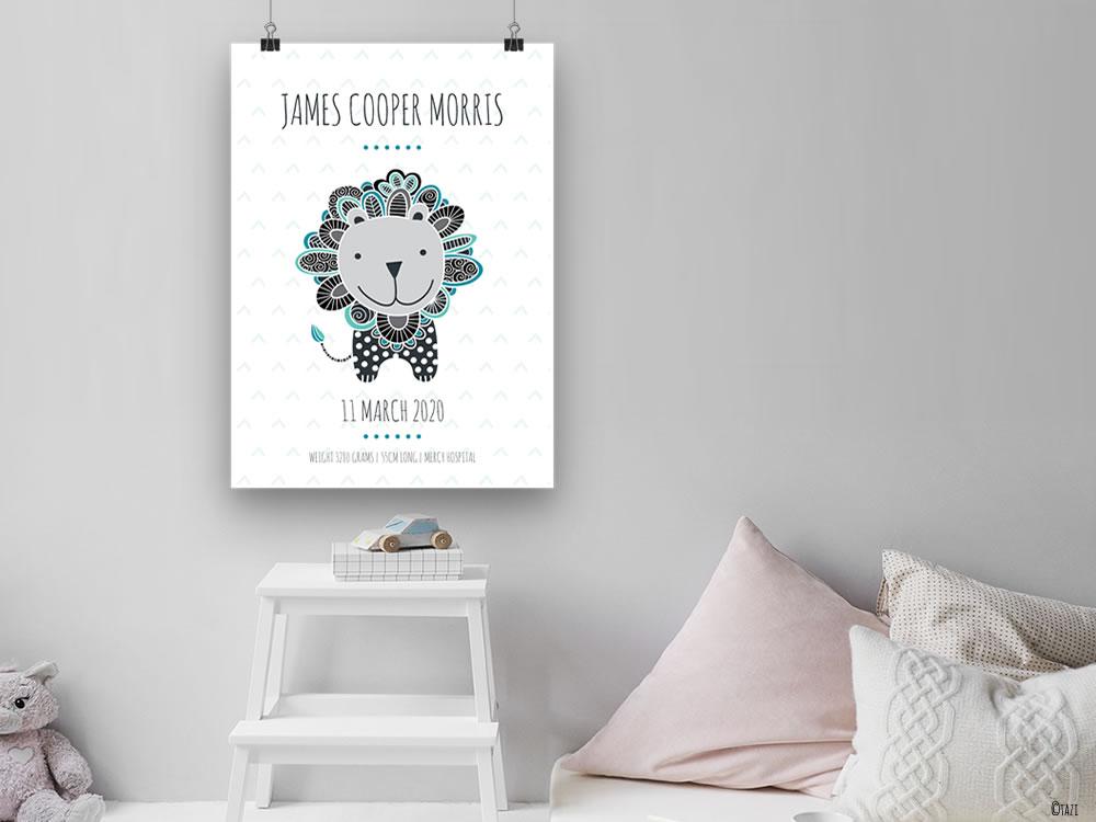Tazi birth-print-lion