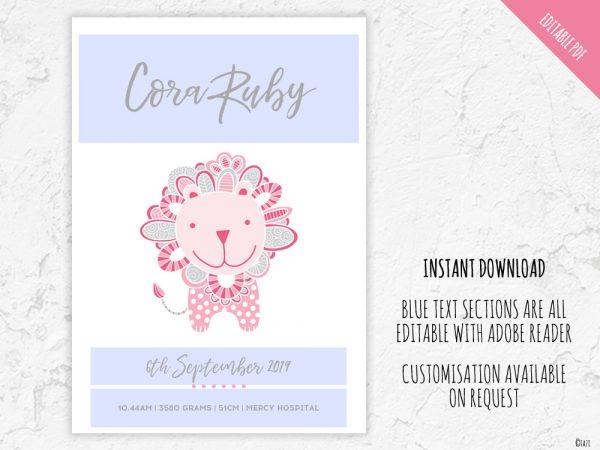 Tazi birth-print-lion-pink-editable
