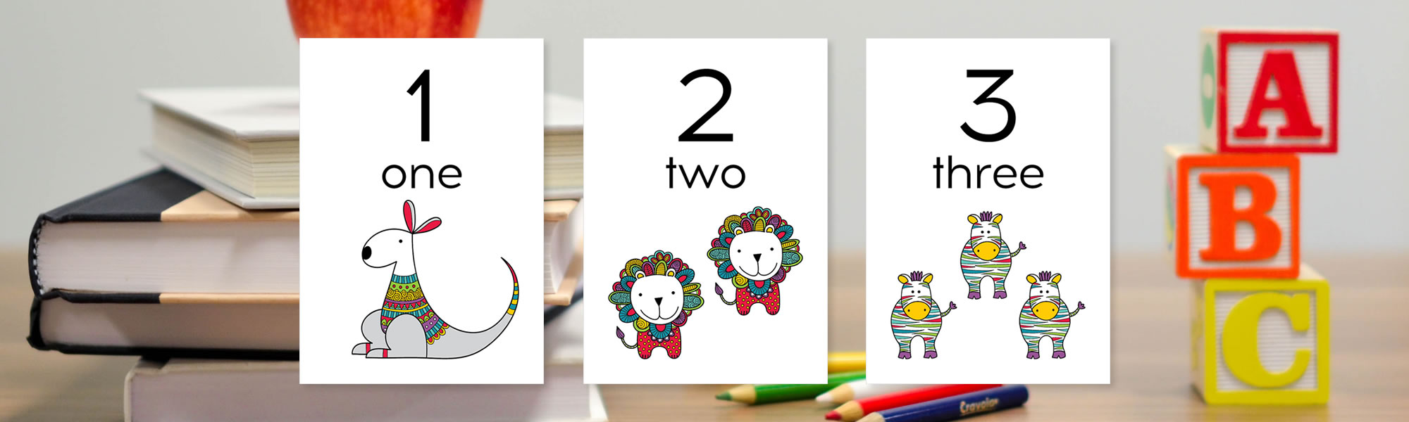 Early learning number flash cards