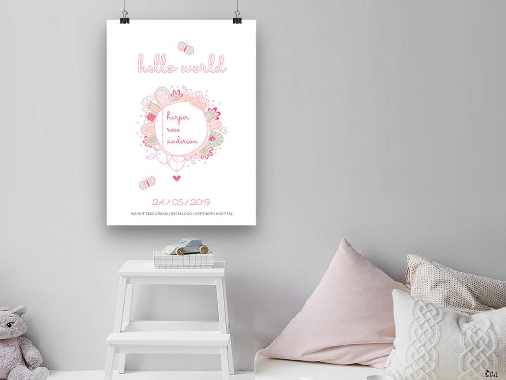 Tazi hello-world-nursery-poster
