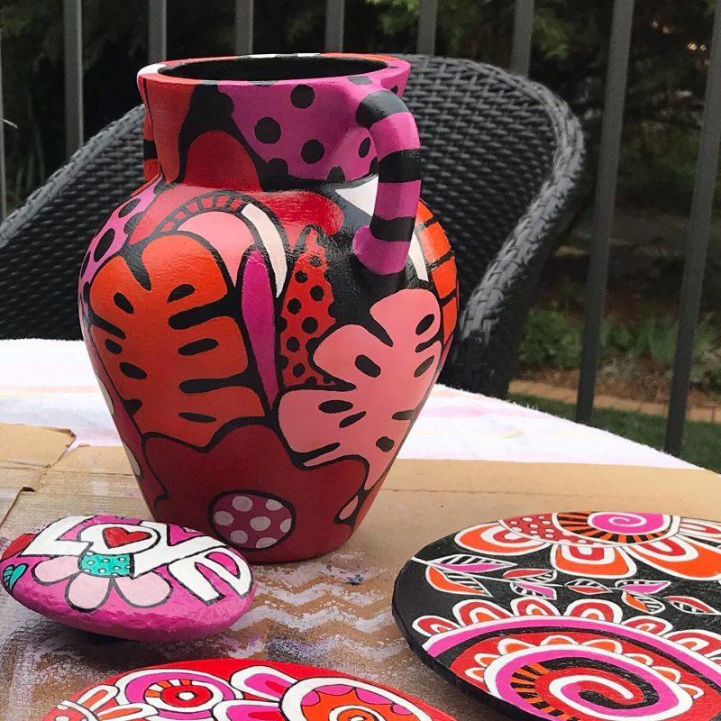 Painted vase by Tazi