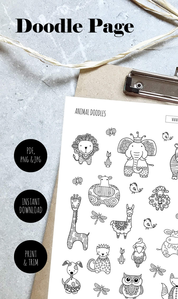 Tazi pin-doodle-page-animals
