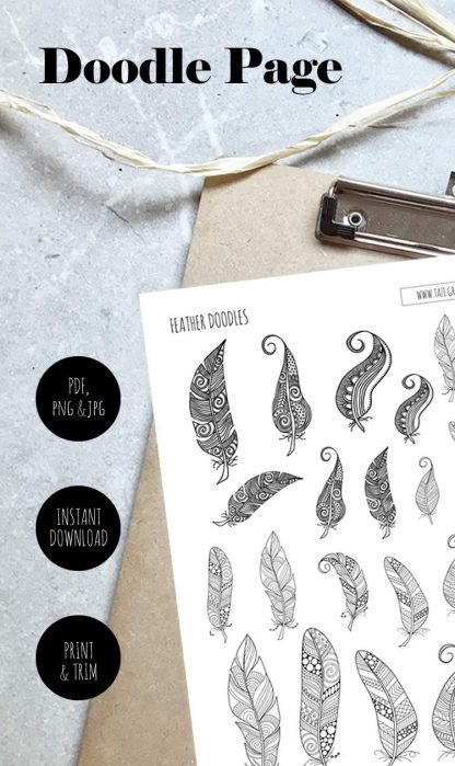 Tazi pin-doodle-page-feathers