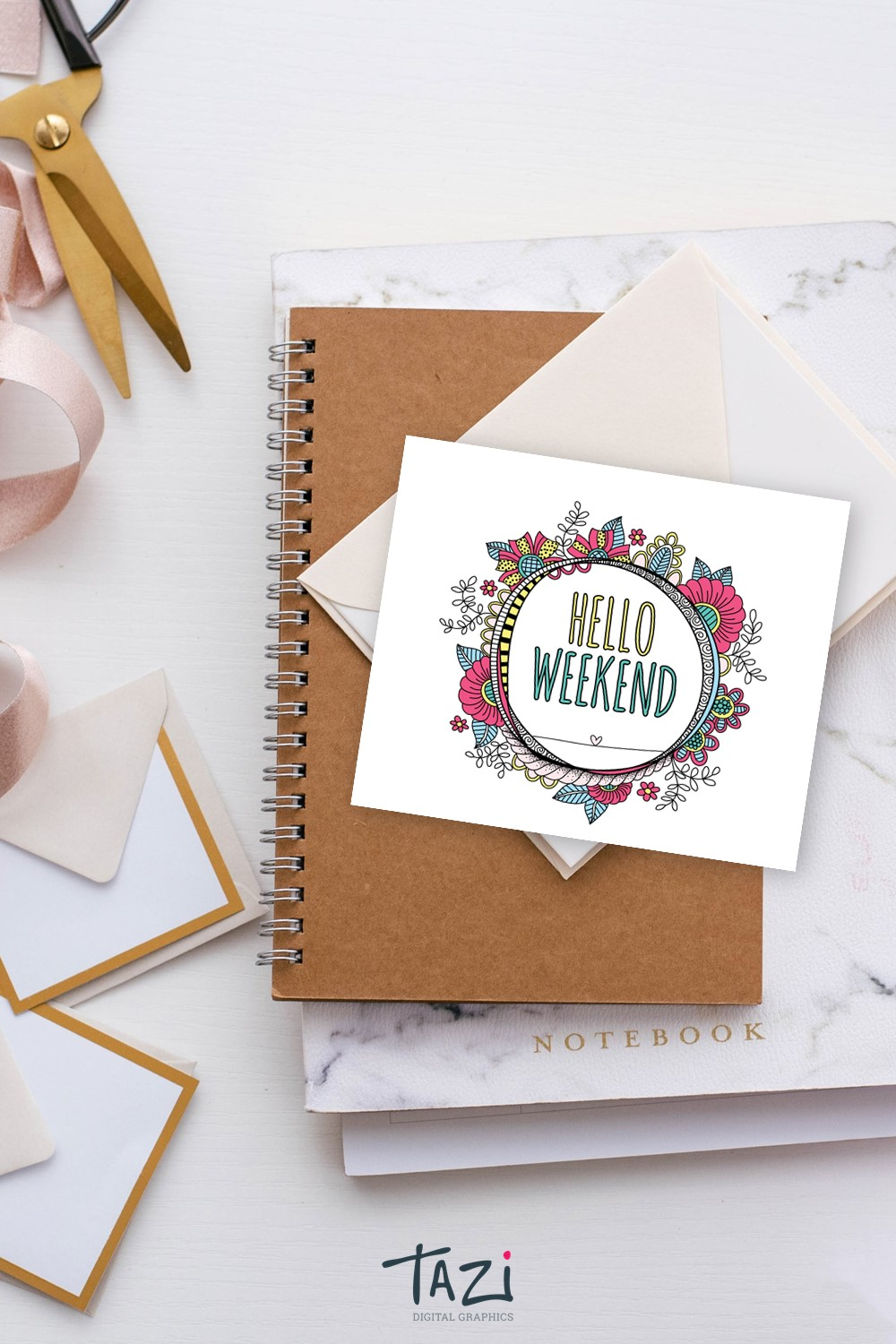 Hello Weekend digital graphic by Tazi
