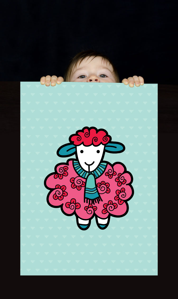 Tazi pin-wallart-sheep