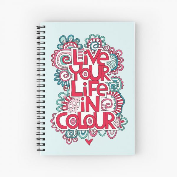 Life your life in colour notebook artwork by Tazi