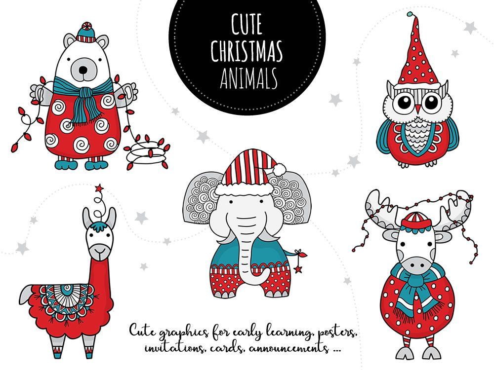 Set of Christmas Animals